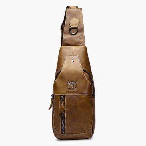 Men Genuine Leather Business Casual Brown Black Shoulder Crossbody Bag010
